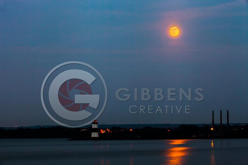 Presque Isle North Pier Light House Moonrise