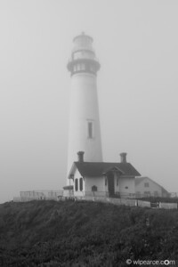 Pigeon Point Lighthouse shrouded in fog.  Pigeon Point, CA
