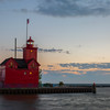 "Holland Harbor Light ""Big Red"" is located on Lake Michigan at the Holland State Park, Holland, Michigan."
