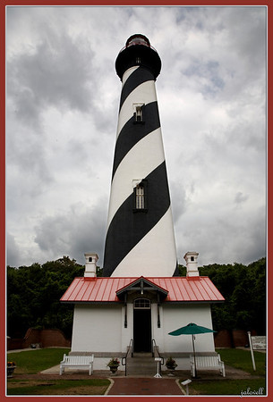 St. Augustine Lighthouse on a bustery gray day...mildly put, very windy up top!!