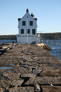 Rockland Breakwater Light Built in 1902 Located on Jamison Point in Rockland Harbor, Rockland, Maine The breakwater walk out to the lighthouse is 7/8 mile long.