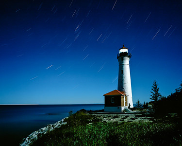 """Crisp Point Lighthouse under full moon light.  *For information on purchasing prints and canvas gallery wraps, click the """"Purchasing"""" tab at the top of the page. If viewing on your mobile device, scroll to the bottom of the page and click the """"Full Site"""" tab to view as if you were on your home PC and then go to the """"Purchase"""" tab to for purchasing info. In mobile mode, you will not see the standard navigation bar with the """"Purchase"""" tab."""