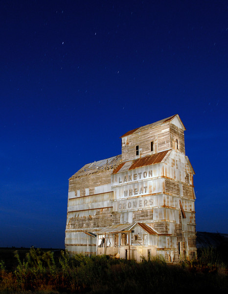 One of two old grain elevators at Laketon, east of Pampa Texas