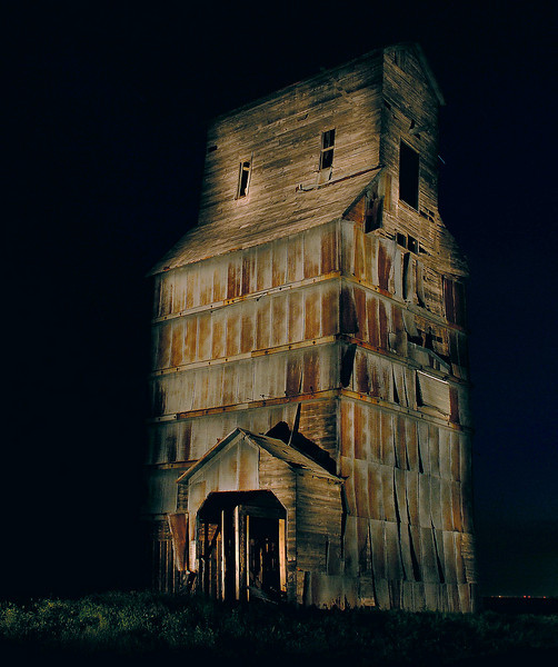 One of two old grain elevators at Laketon, east of Pampa, Texas