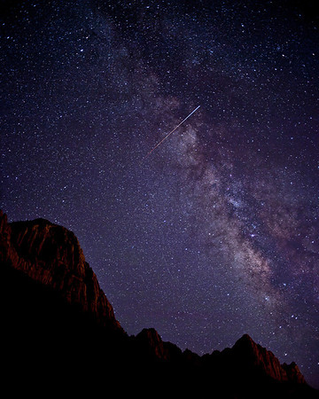 ISS over Zion  The International Space Station flies over the Watchman & Zion National Park, Utah USA