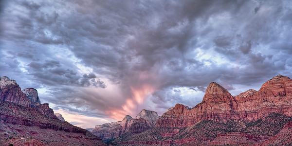 Roar out of Zion  A Summer storm gathers the last rays of light over the canyon Zion Canyon, Utah, USA