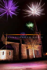 Fireworks light up the Square in Listowel including St Johns  Arts and Heritage centre on Halloween night. PHoto Brendan Landy