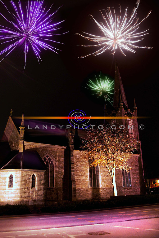 Fireworks light up the Square in Listowel including St Johns  Arts and Heritage centre on Halloween night.<br /> PHoto Brendan Landy