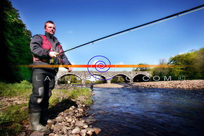 Michael Kelliher cast out his line as he fly fishes on the river feale in Listowel. Photo Brendan Landy