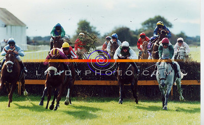 Action from the big race the Kerry national , at Listowel Races festival meting that broke all records. Pic Brendan Landy