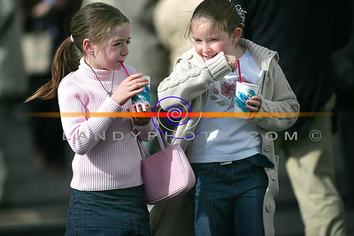 Good stuff thiese drinks... Rachel McKenna and Eimear Healy from Listowel cool down at Listowel races. Pic Brendan Landy