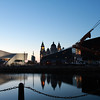 Taken from the Albert Dock; Museum of Liverpool and the Royal Liver Buildings
