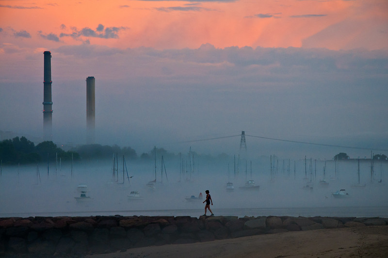 Foggy Beverly Harbor at Sunse