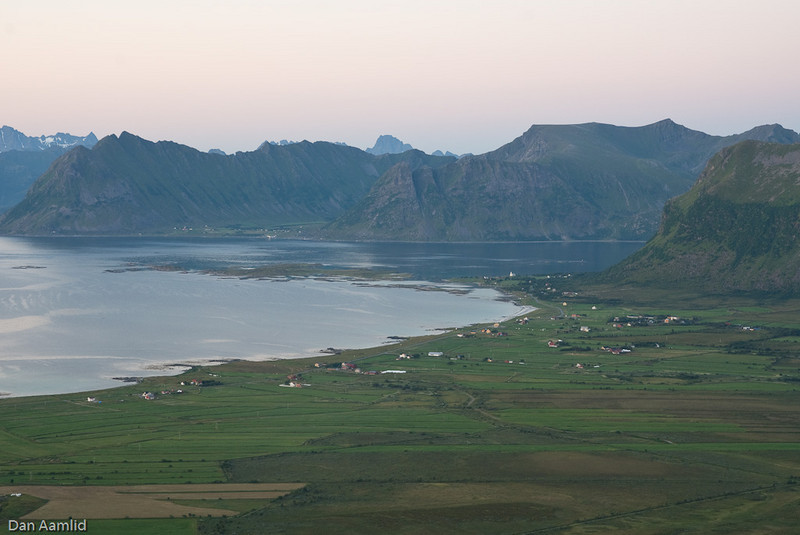 View of Village Saupstad, Lofoten from Mt Hoven at 23:37