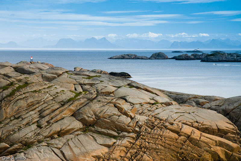 Kalle, at the Paradis rock area, looking east to mainland, view of Vestfjorden