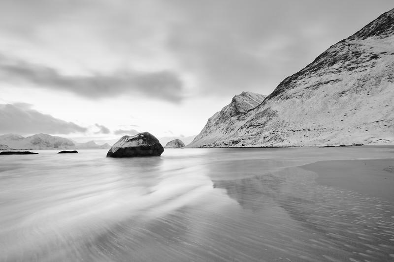 Haukland Beach in black and white.