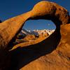 Whitney arch at sunrise/moonset