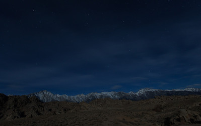 Lone Pine Peak, Mt. Whitney, Alabama Hills by moonlight, Lone Pine, CA.