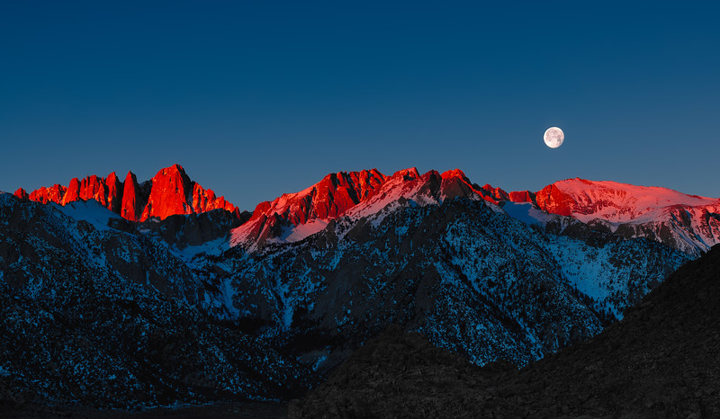 Sunrise/moonset Mt. Whitney