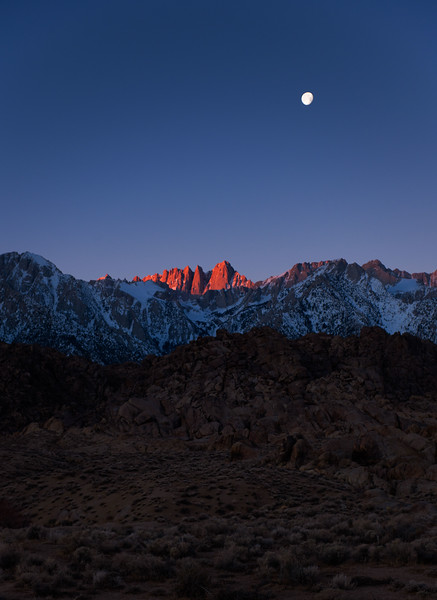 Whitney sunrise/ moonset