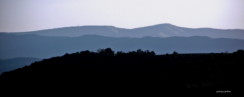 The mountains march, ridge after ridge, all the way into West Virginia.