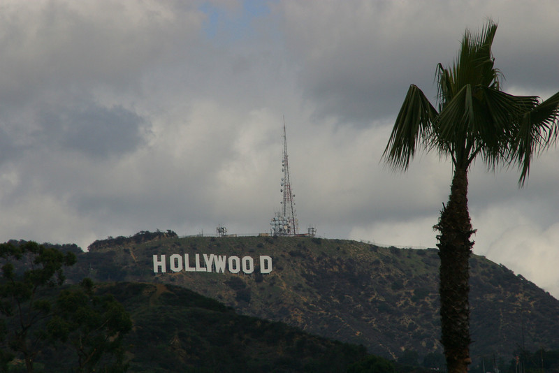 "My first goal was to get a picture of the ""world famous"" Hollywood sign.  This is the view from the corner of Hollywood Boulevard and Highland Drive."