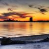 Sunset on the beach in Lake Charles, Louisiana.