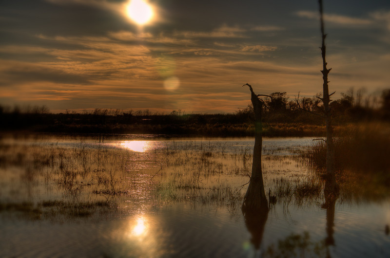 Sunset on the Sabine River near Carlyss, Louisiana.