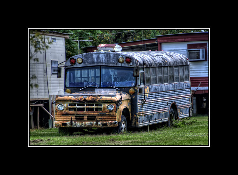 A retired school bus transformed into a place to stay.