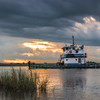 Morning tugboat on Intercostal Waterway near Hackberry, LA