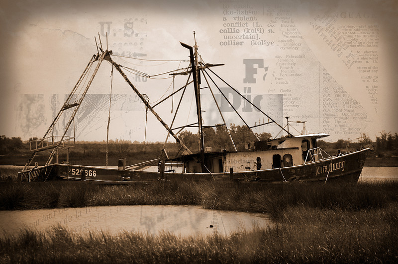 Louisiana shrimp boat after Hurricane Katrina