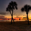 Sunset on the beach in Lake Charles, Louisiana.