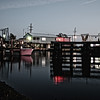 The shrimp boat docks at night, Hackberry, Louisiana.