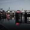 The shrimp boat docks at night, Hackberry, Louisiana.