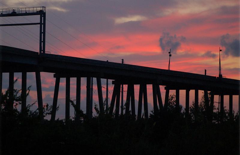 Louisiana bridge at twilight