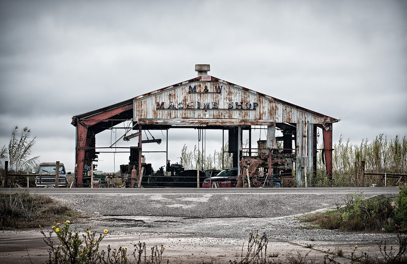 Remnants of the local machine shop in Cameron, Louisiana, thanks to hurricane Rita.