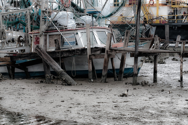 """Low tide and hurricane damage.  """"Stuck in the mud"""", Cameron, Louisiana."""