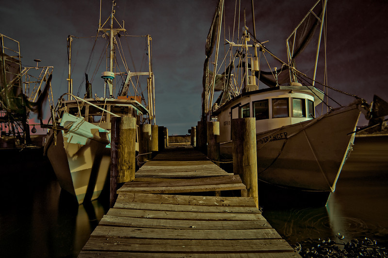 Shrimp boats tied down for the night  and waiting to set sail in the early hours.
