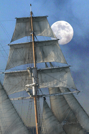 "**Selected as a finalist in Photography Forum's Photo Contest and will appear in their ""Best Photography of 2012"". Moon in the Sails ~ The almost-full moon rose during the sail, and made a great contrast against the ship's sails."
