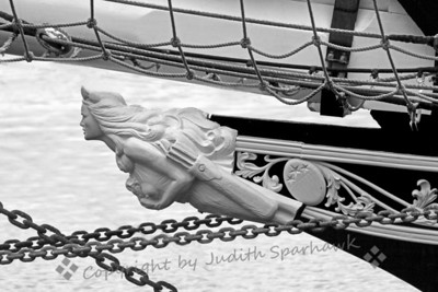 Lady in Chains ~ I really liked this ship's figurehead.  As it was such an overcast morning, there was little color in the shot.  I tried it in black and white as one option for showing off the detail in the shot.