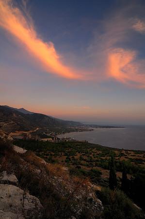 "Goritsa Hill (Thessaly, near Volos) - Afternoon view of Agria village and ""Hercules"" cement factory<br />  Λόφος Γορίτσας (Βόλος) - Απογευματινή άποψη της Αγριάς και της τσιμεντοβιομηχανίας ""Ηρακλής"""