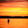 Peter Z fishing at sunrise on Little Pine Lake