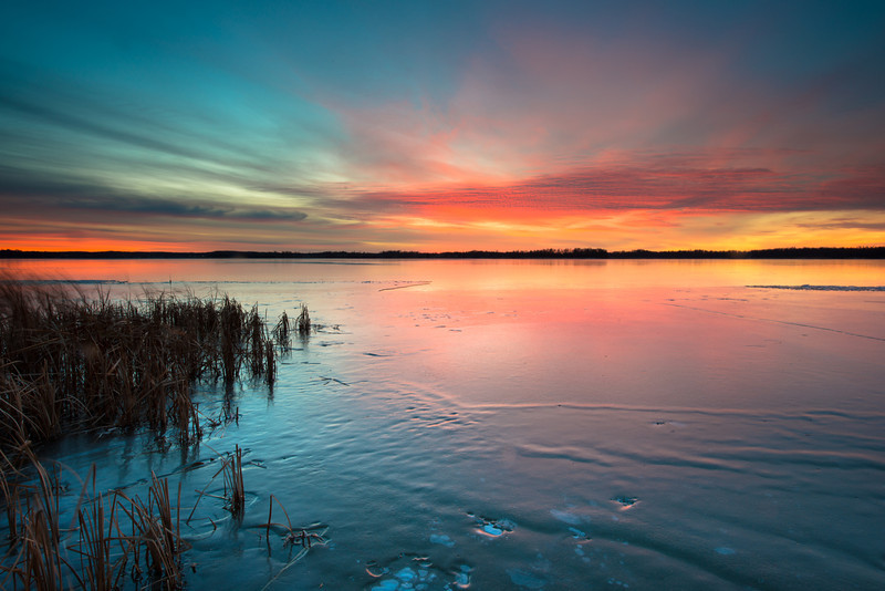 Icy Sunrise over Dead Lake, Ottertail County, Minnesota, USA.