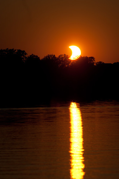 Partial Solar Eclipse viewed from North side of Little MacDonald Lake, Minnesota.