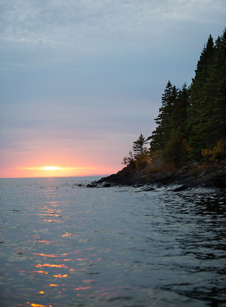 a sunset view from Isle Royale National Park in Lake Superior