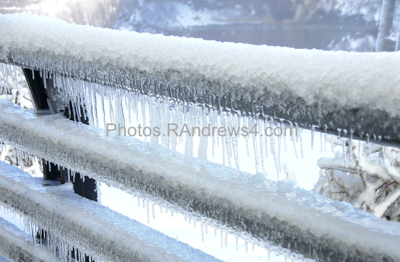 20110324 Railing in Lower Falls Park in Rochester, NY covered in ice