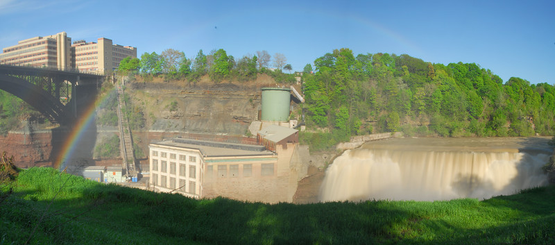 Another view of the Lower Falls of the Genesee with a more prominent rainbow.
