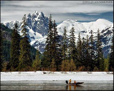 """WINTERY STIKINE & CASTLE MT."",Stikine river,Alaska,USA."