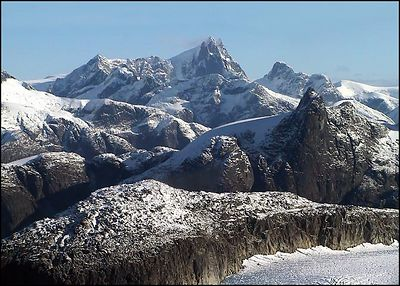 """RUGGED BEAUTY"",Coastal mountains and LeConte glacier (lower right corner), Alaska,USA.-----""DRSNA KRASA"", Pobrezni hory a ledovec LeConte (pravy dolni roh), Aljaska,USA."