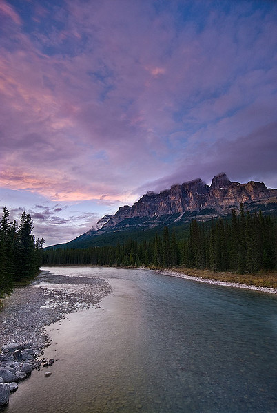Castle Mountain at Sunset, Banff National Park, Alberta.